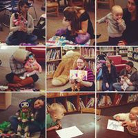 librarian with babies and books