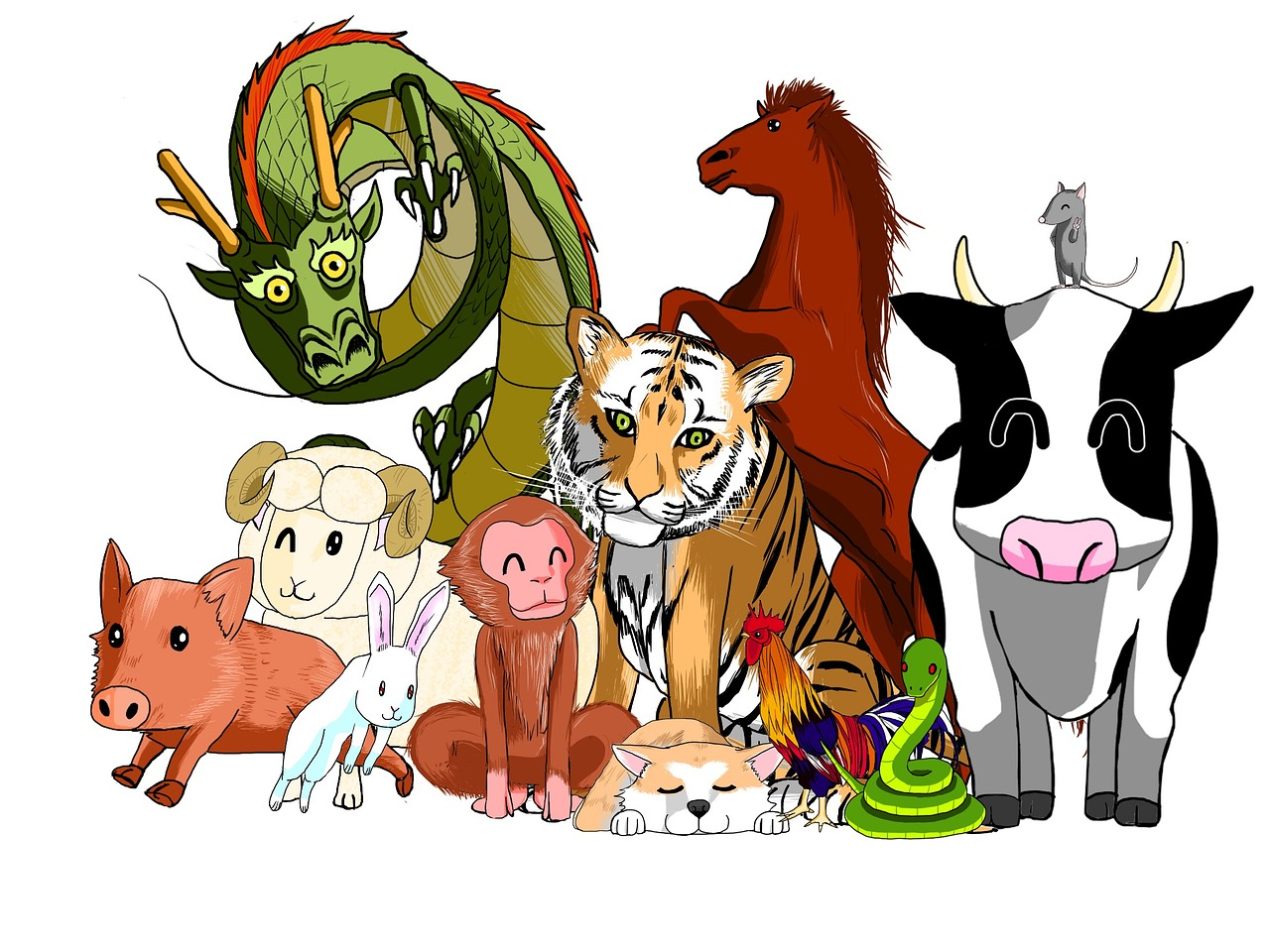 Cartoon drawings of zodiac signs
