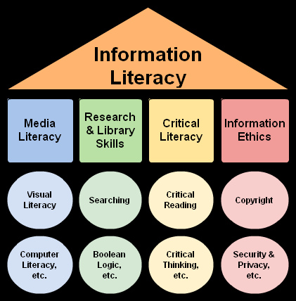 information literacy, with sub categories: media literacy, research skills, critical literacy and information ethics
