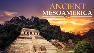 Maya to Aztec Ancient Mesoamerica Revealed with pyramid and purple sky