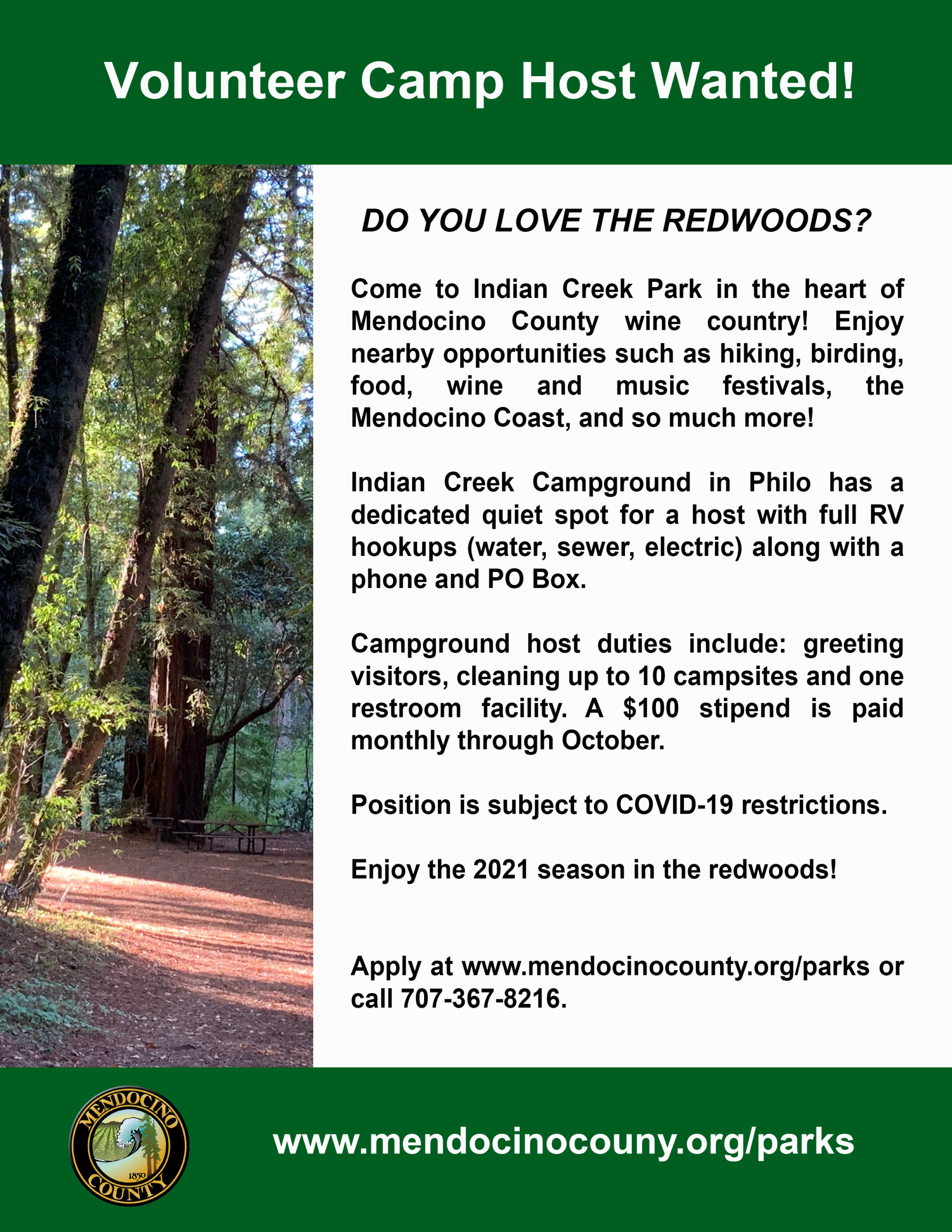 Indian Creek Campground Host Ad Flier
