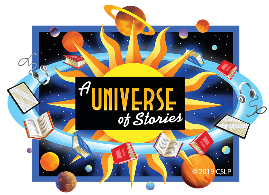 "An illustration of the sun in space orbited by planets and books with the words ""A Universe of Stories"" in the center."