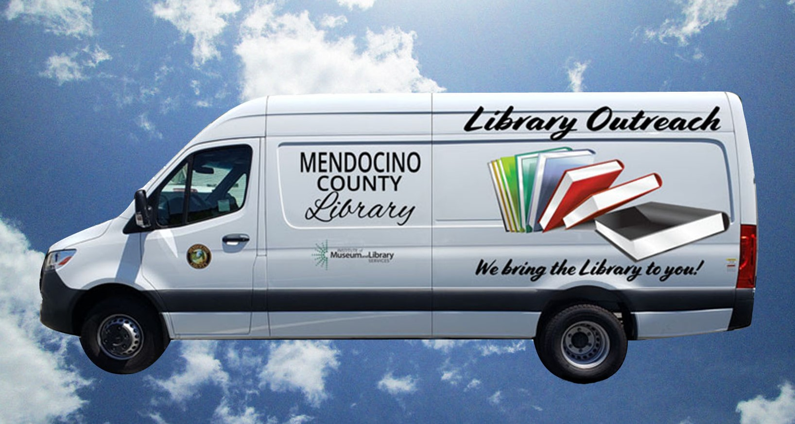 a library van with books on the side floating in the clouds