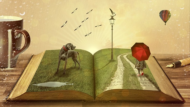 An open book spilling out whimsical images of a balloon, a child walking in the rain, birds, a lamppost, and a dog