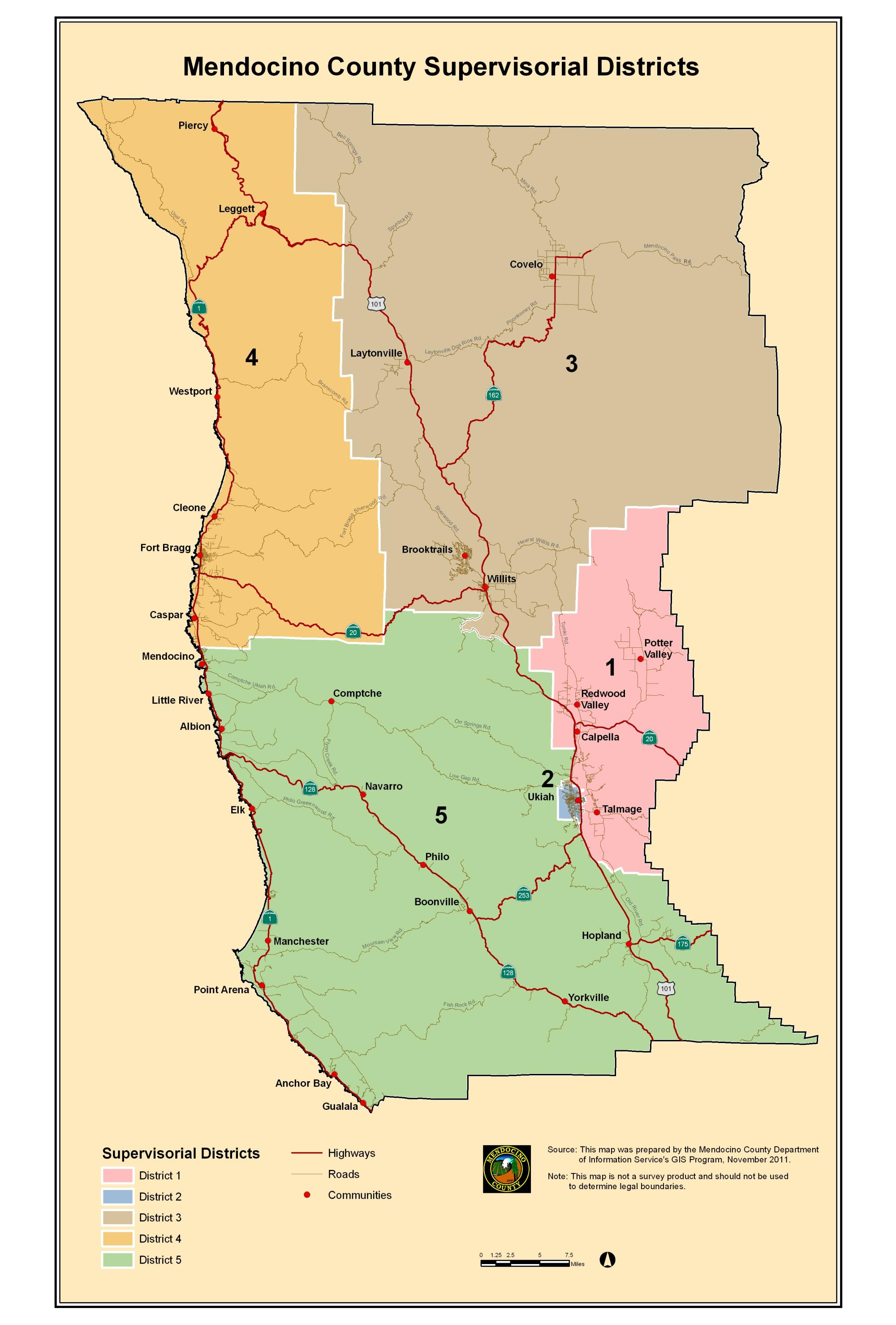 Mendocino County Map District Boundaries | Mendocino County, CA Mendocino County Map