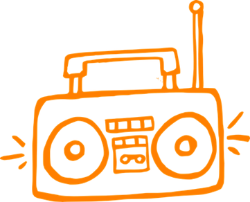 Line drawing of a boom box