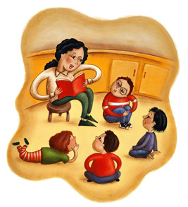 woman with a book and kids in a half circle around her